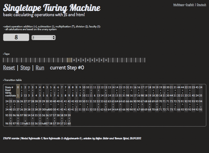 Singletape Turing Machine